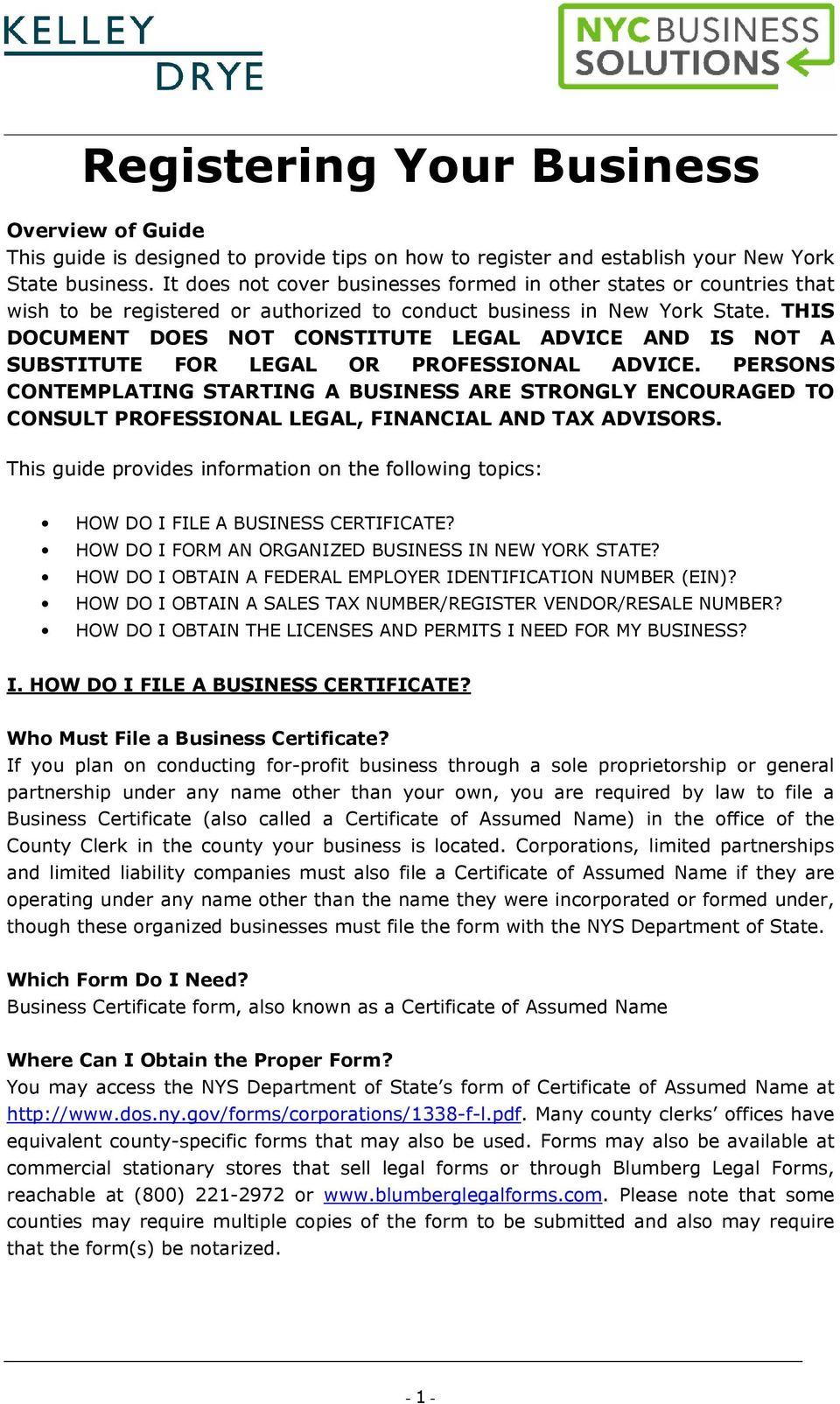 Registering Your Business - PDF