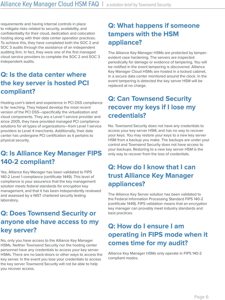 Alliance Key Manager Cloud HSM Frequently Asked Questions - PDF
