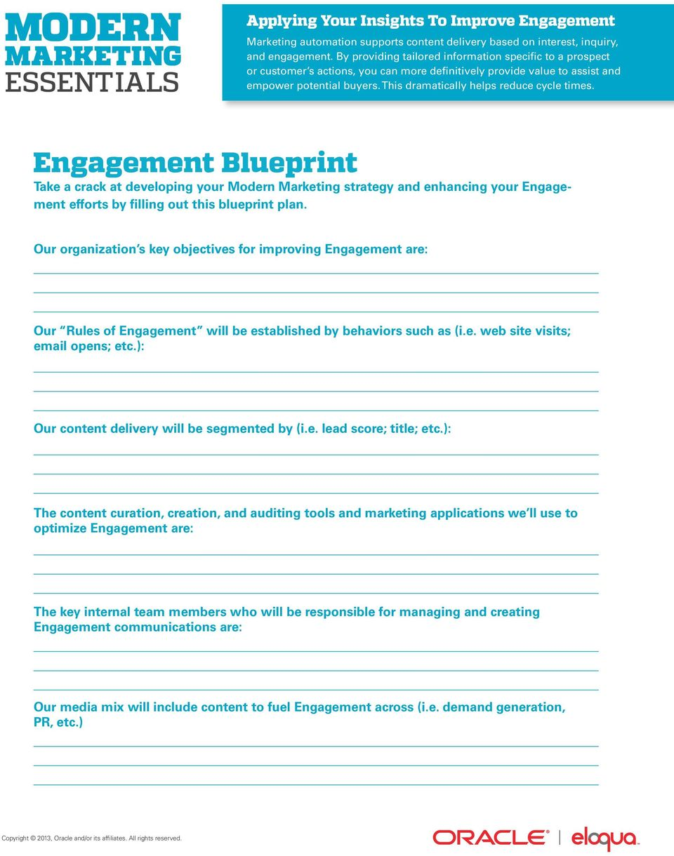 This dramatically helps reduce cycle times. Engagement Blueprint Take a crack at developing your Modern Marketing strategy and enhancing your Engagement efforts by filling out this blueprint plan.