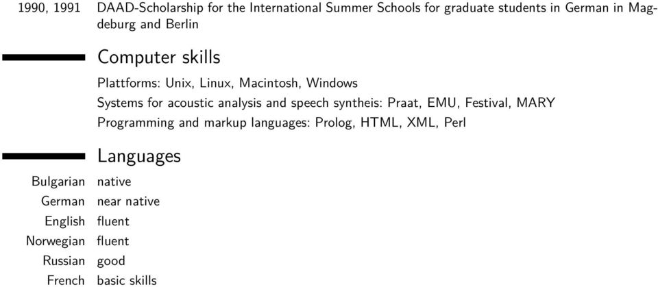 analysis and speech syntheis: Praat, EMU, Festival, MARY Programming and markup languages: Prolog, HTML,