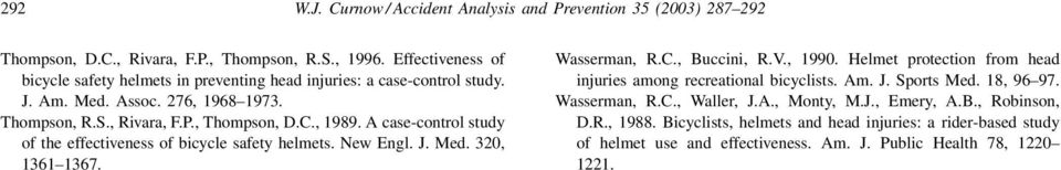 A case-control study of the effectiveness of bicycle safety helmets. New Engl. J. Med. 320, 1361 1367. Wasserman, R.C., Buccini, R.V., 1990.