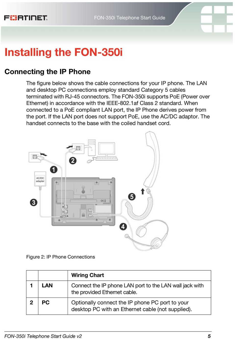 Fon 350i Telephone Start Guide Pdf Ip Pbx Wiring Diagram When Connected To A Poe Compliant Lan Port The