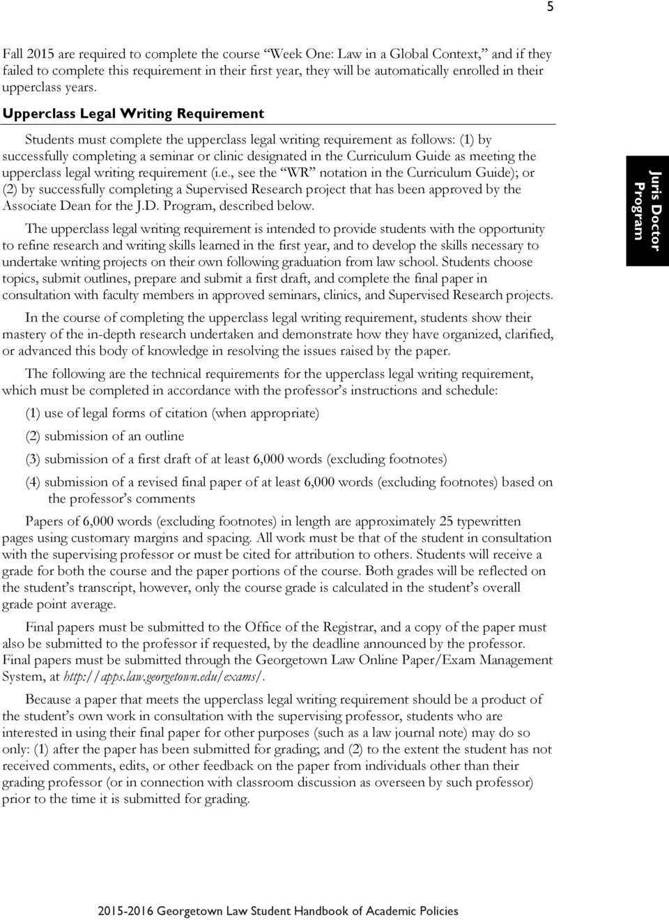 Curriculum guide georgetown law
