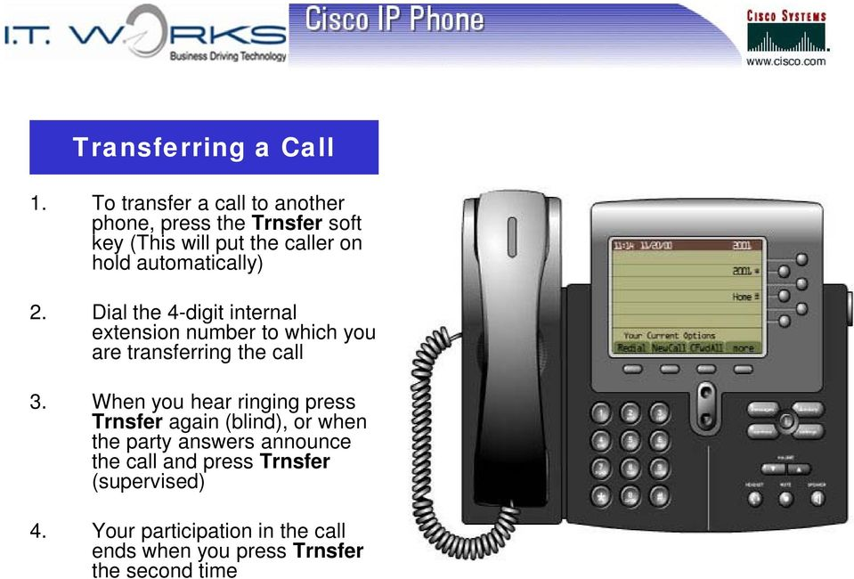 automatically) 2. Dial the 4-digit internal extension number to which you are transferring the call 3.