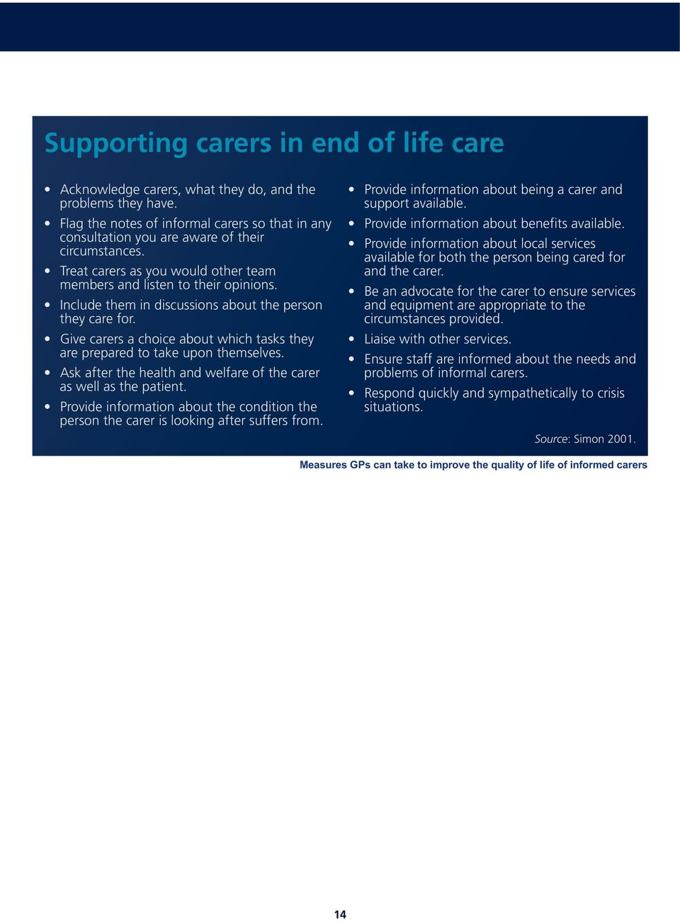 Give carers a choice about which tasks they are prepared to take upon themselves. Ask after the health and welfare of the carer as well as the patient.