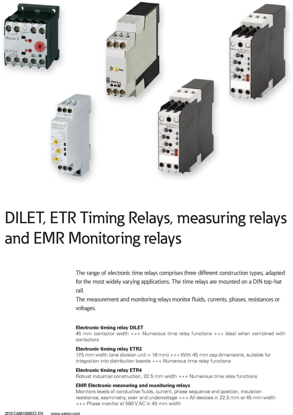 Dilet Etr Timing Relays Measuring And Emr Monitoring Vde 0435 Timer Relay Wiring Diagram Elecronic Iming 45 Mm Conacor Widh Numerous Ime Funcions