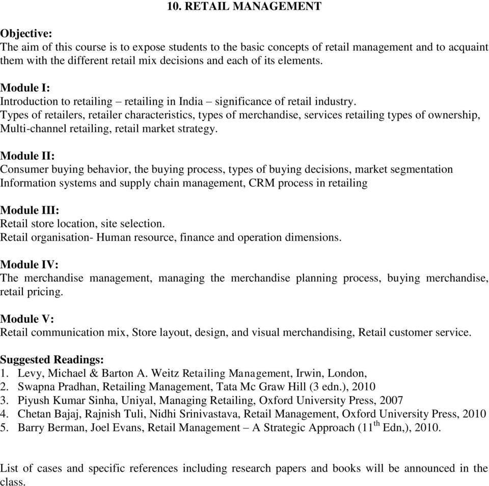 SYLLABI OF ELECTIVE PAPERS FOR MBA(Full-time), MBA (Part