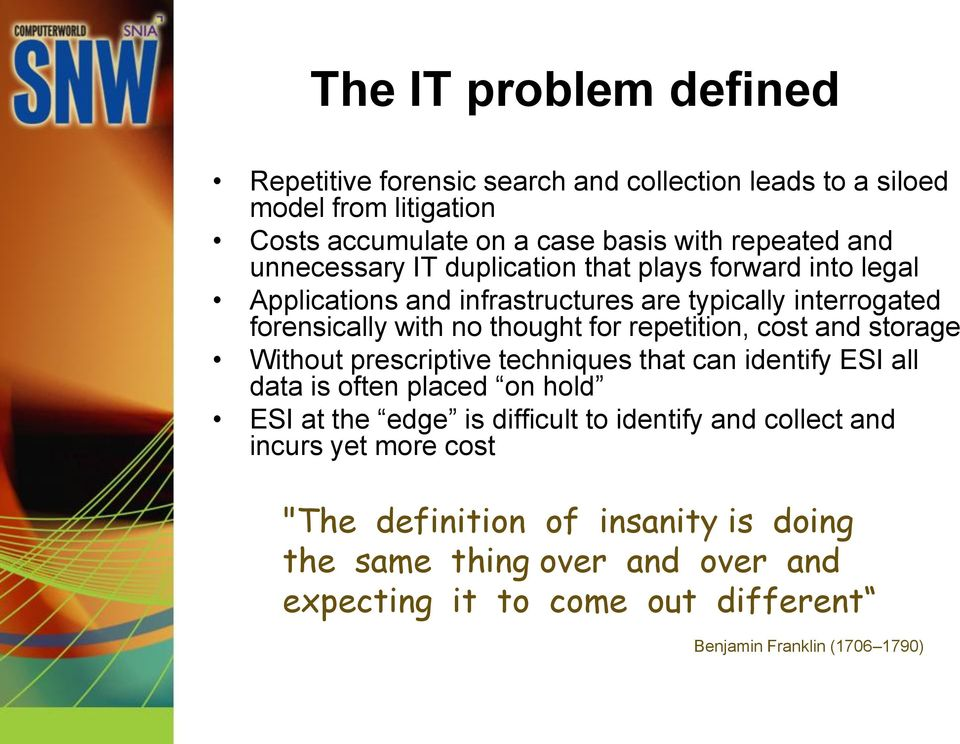 repetition, cost and storage Without prescriptive techniques that can identify ESI all data is often placed on hold ESI at the edge is difficult to identify