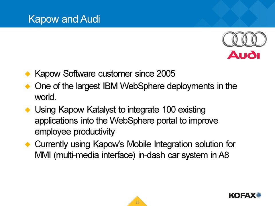 Using Kapow Katalyst to integrate 100 existing applications into the WebSphere portal to