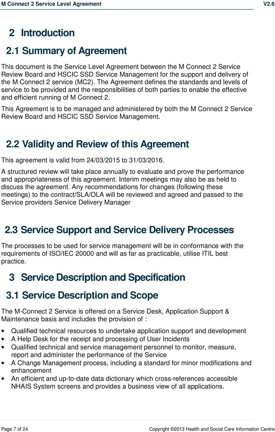 Service Level Agreement (SLA) for the M Connect 2 System - PDF