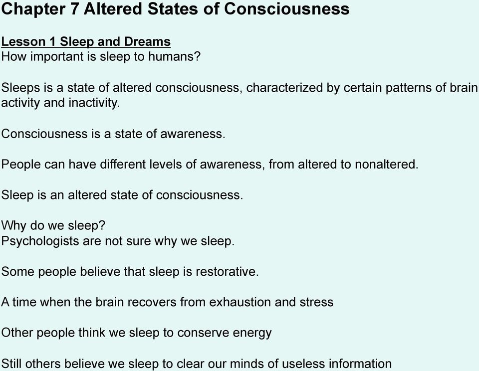 Chapter 7 Altered States of Consciousness - PDF