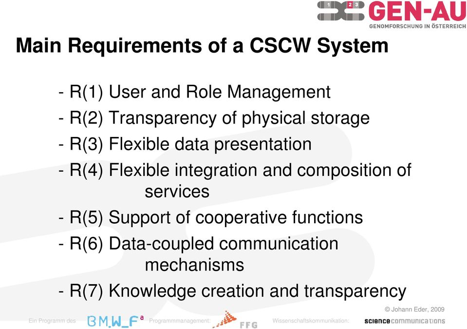 Flexible integration and composition of services - R(5) Support of cooperative