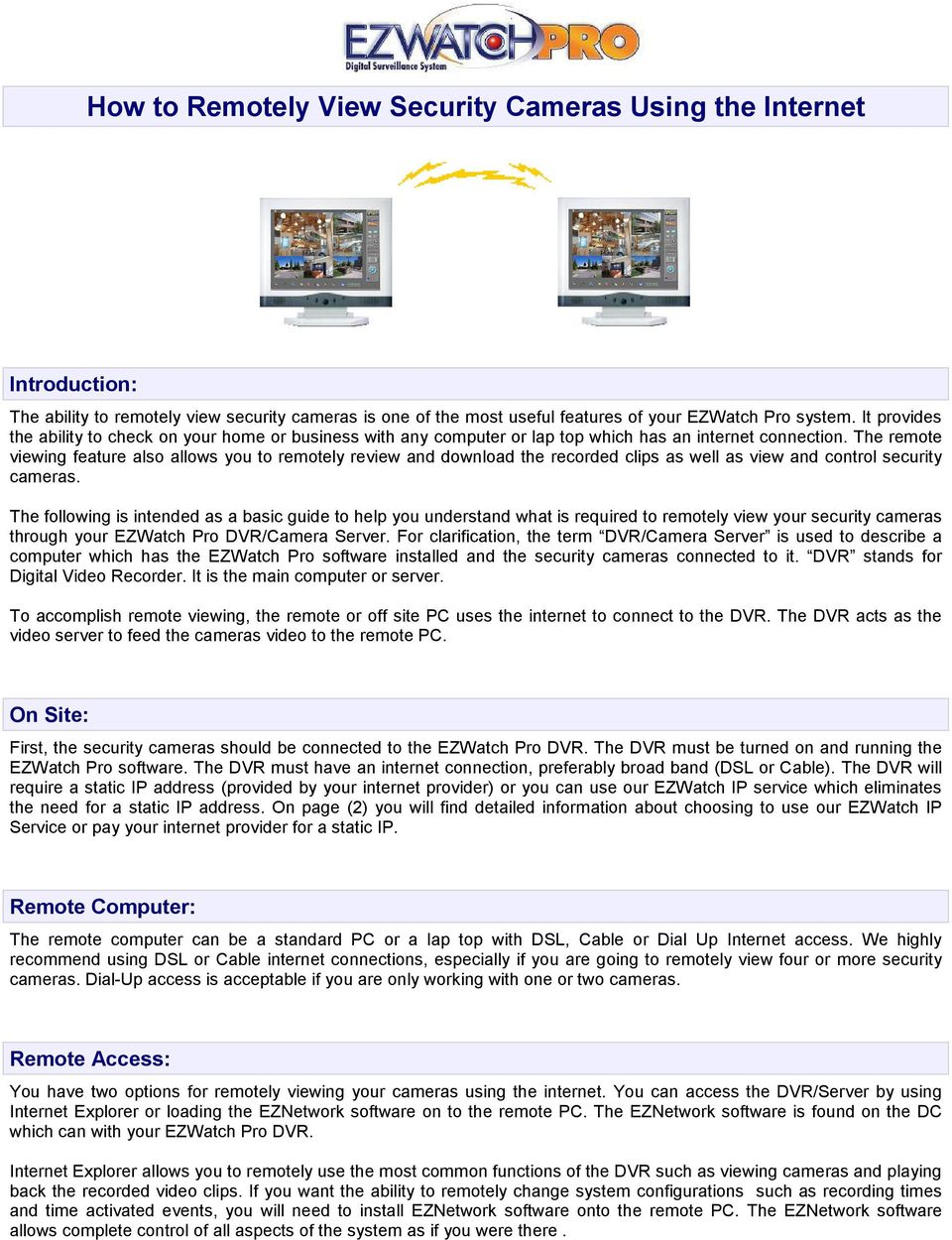 How to Remotely View Security Cameras Using the Internet - PDF