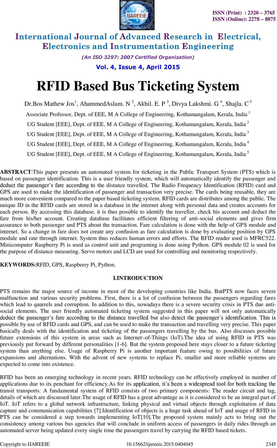 Rfid Based Bus Ticketing System Pdf Is Basic Block Diagram Of Highway Toll Collection Eee M A College Engineering Kothamangalam Kerala India 3 Ug Student