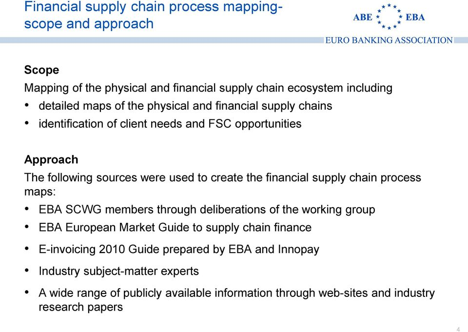 supply chain process maps: EBA SCWG members through deliberations of the working group EBA European Market Guide to supply chain finance E-invoicing 2010