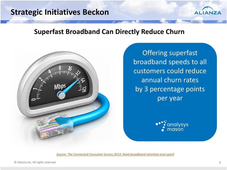 reduce annual churn rates by 3 percentage points per year Source: