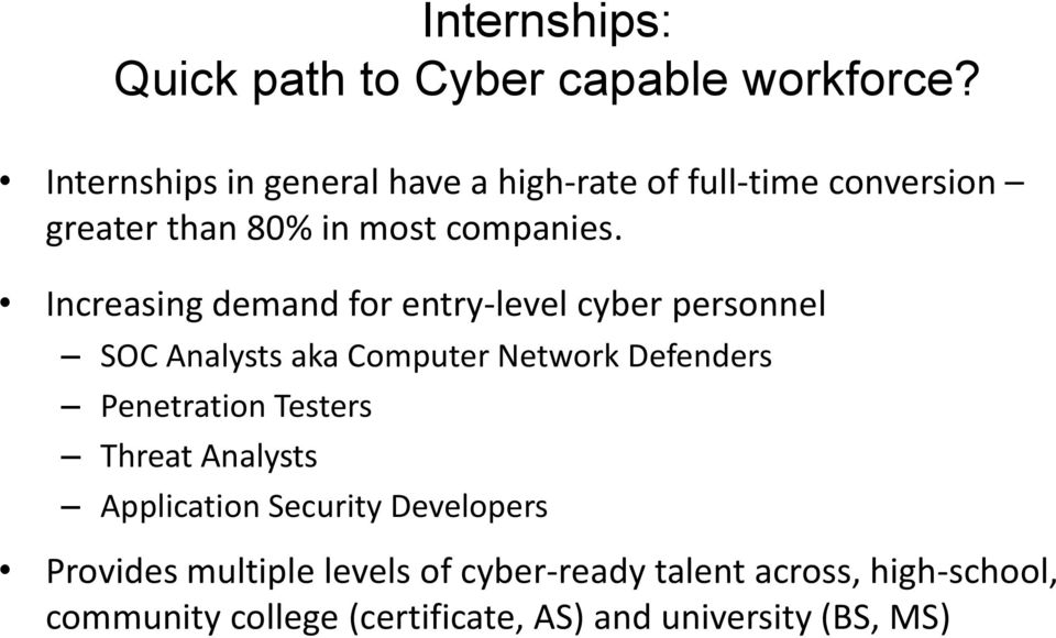 Increasing demand for entry-level cyber personnel SOC Analysts aka Computer Network Defenders Penetration