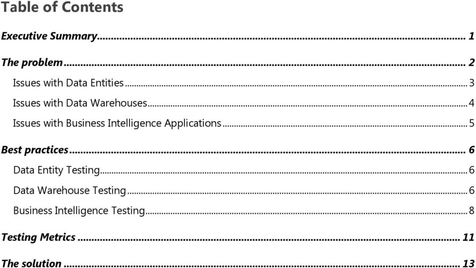 .. 4 Issues with Business Intelligence Applications.