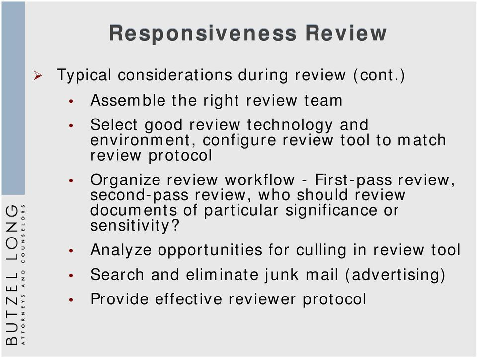 protocol Organize review workflow - First-pass review, second-pass review, who should review documents of particular