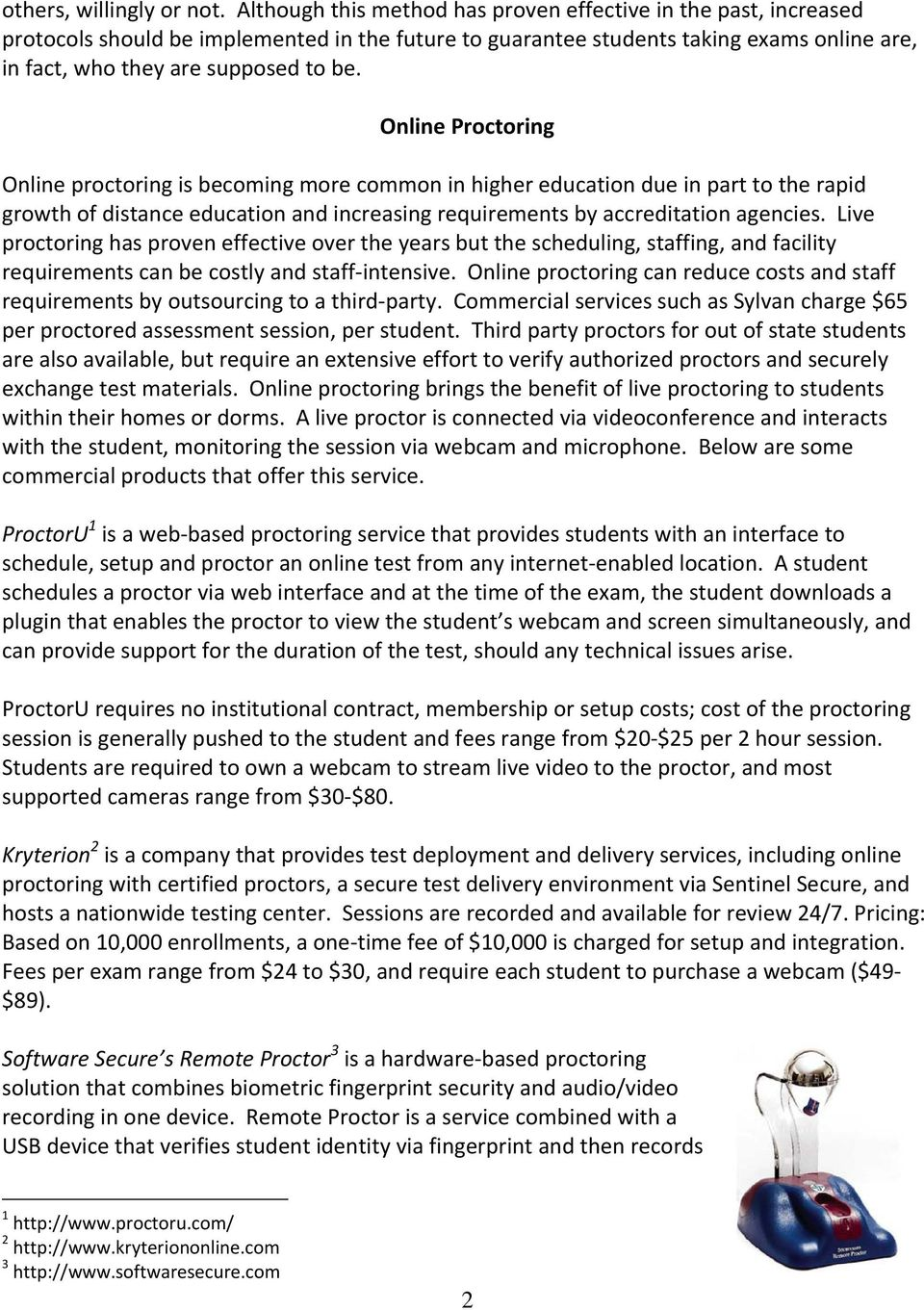 Secure Testing Options for the University - PDF