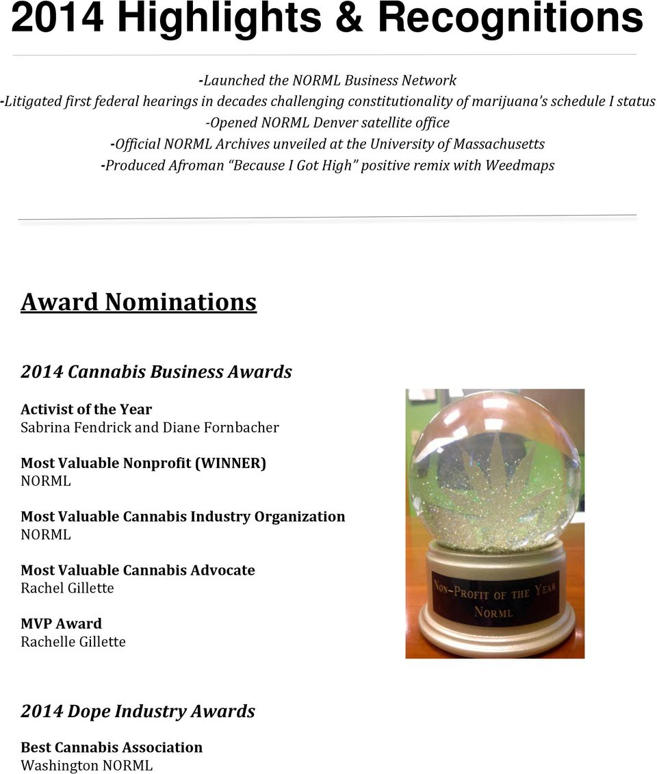 Weedmaps Award Nominations 2014 Cannabis Business Awards Activist of the Year Sabrina Fendrick and Diane Fornbacher Most Valuable Nonprofit (WINNER) NORML Most Valuable