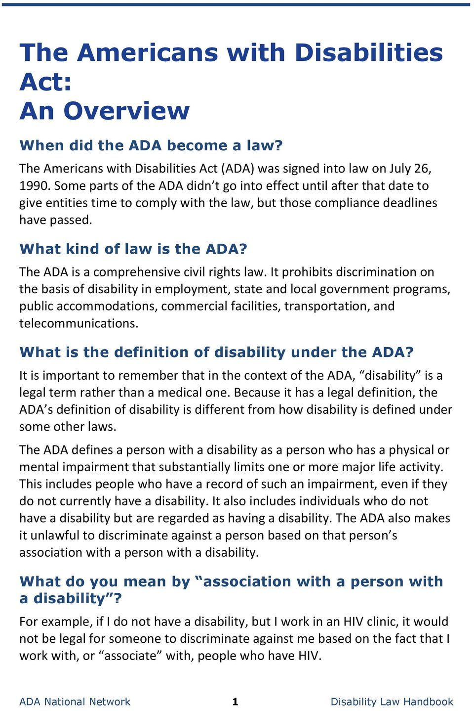 the ada national network disability law handbook - pdf