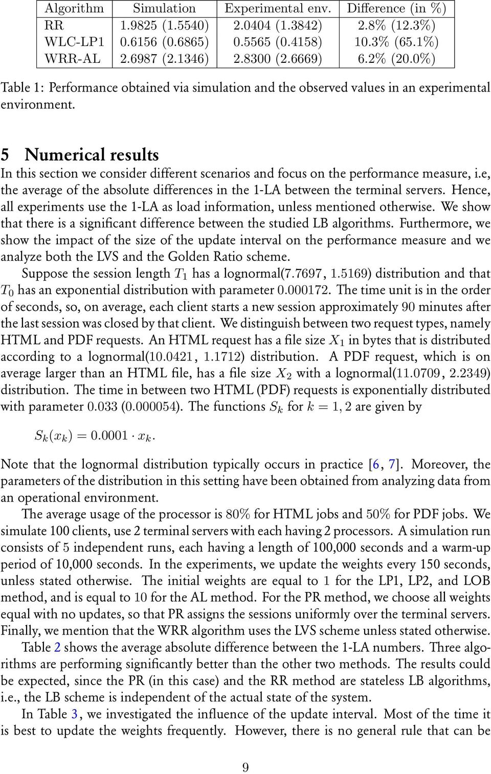 5 Numerical results In this section we consider different scenarios and focus on the performance measure, i.e, the average of the absolute differences in the 1-LA between the terminal servers.