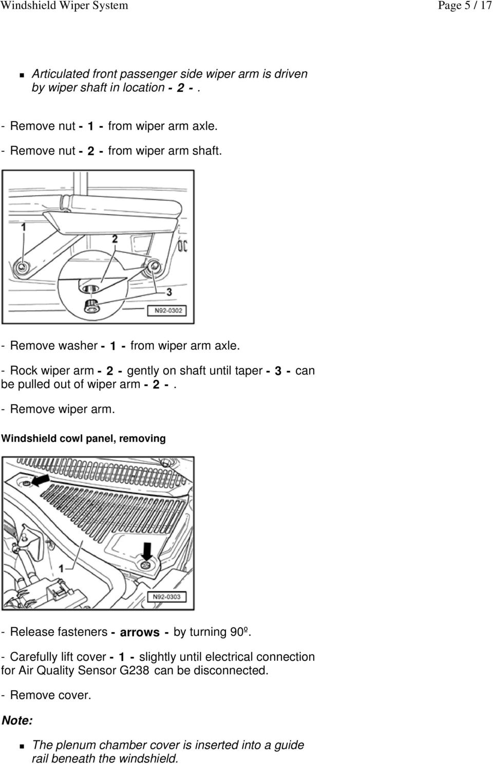 Windshield Wiper System Pdf Automatic Rain Sensing Control Circuit Diagram Rock Arm 2 Gently On Shaft Until Taper 3 Can