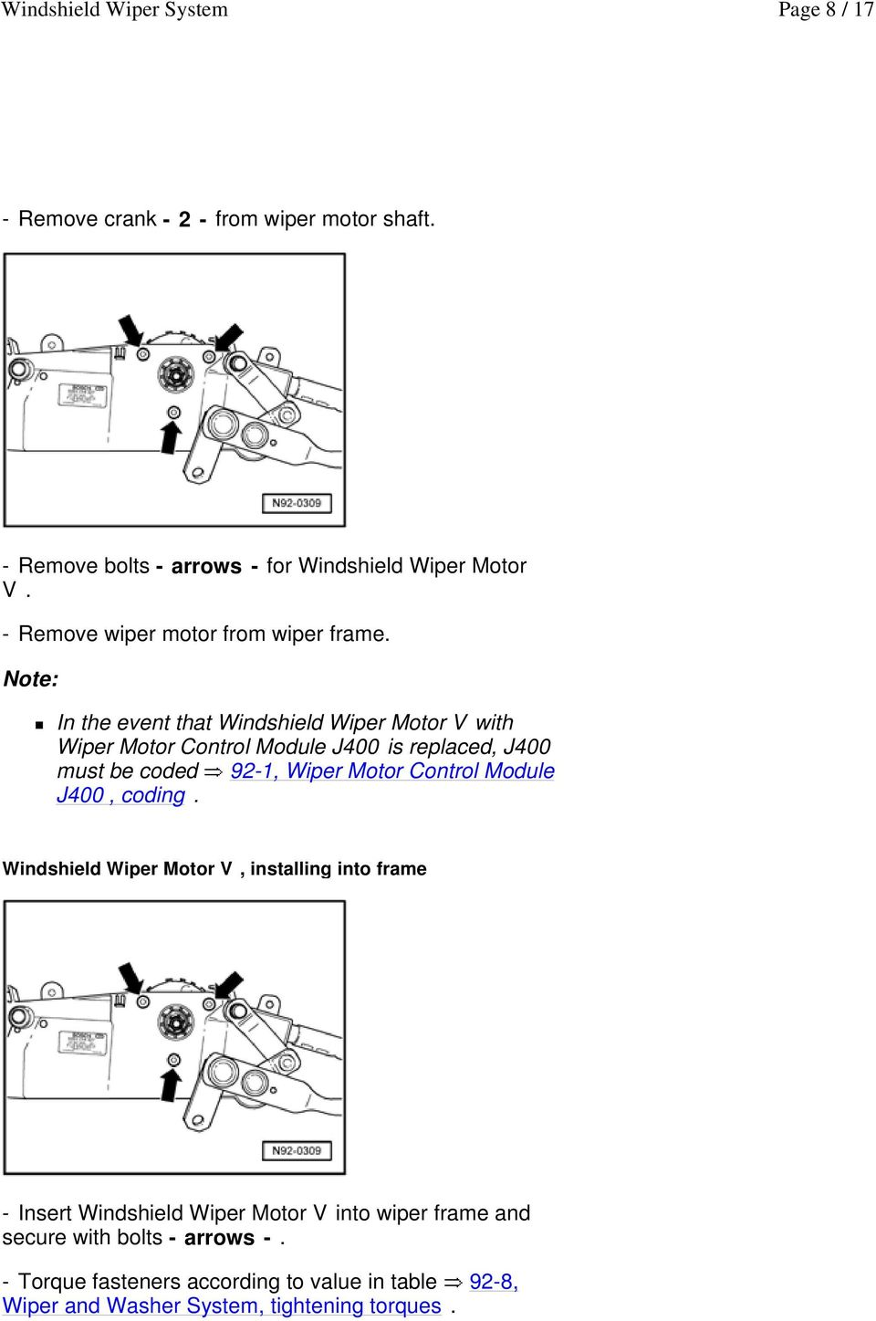 Windshield Wiper System Pdf 1992 Corvette Motor Wiring Diagram In The Event That V With Control Module J400 Is Replaced
