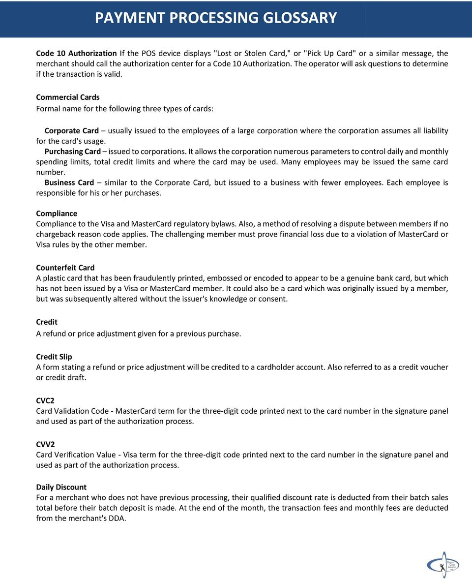 PAYMENT PROCESSING GLOSSARY - PDF