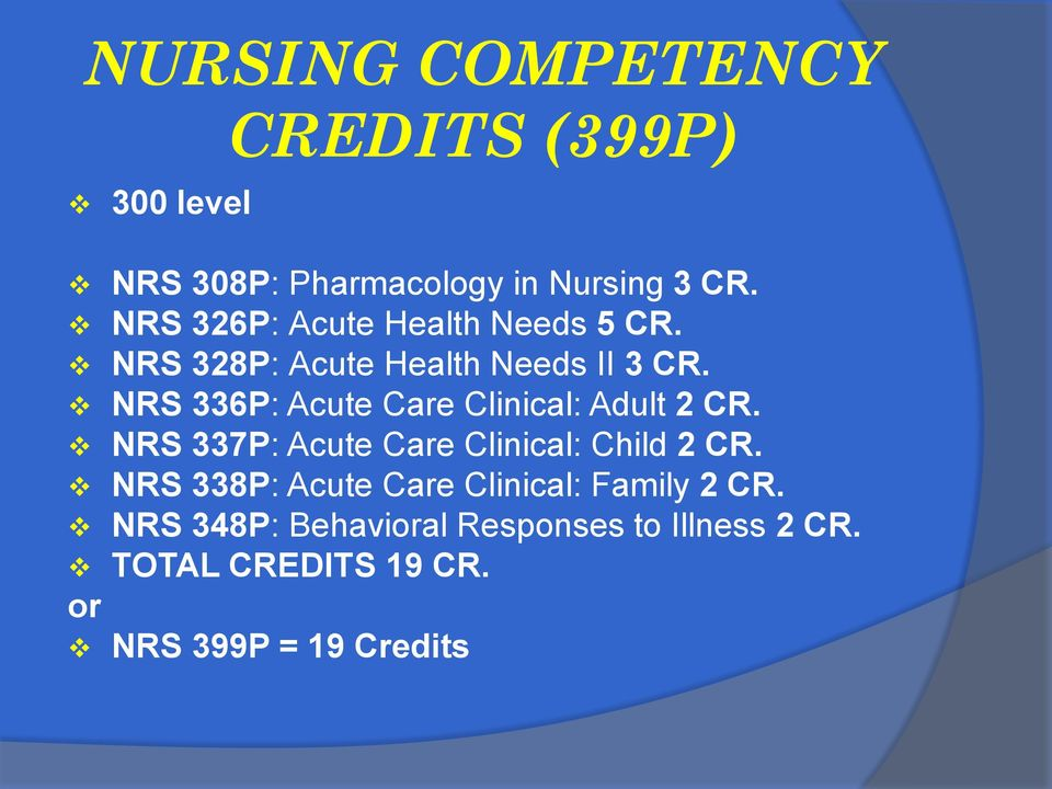 NRS 336P: Acute Care Clinical: Adult 2 CR. NRS 337P: Acute Care Clinical: Child 2 CR.