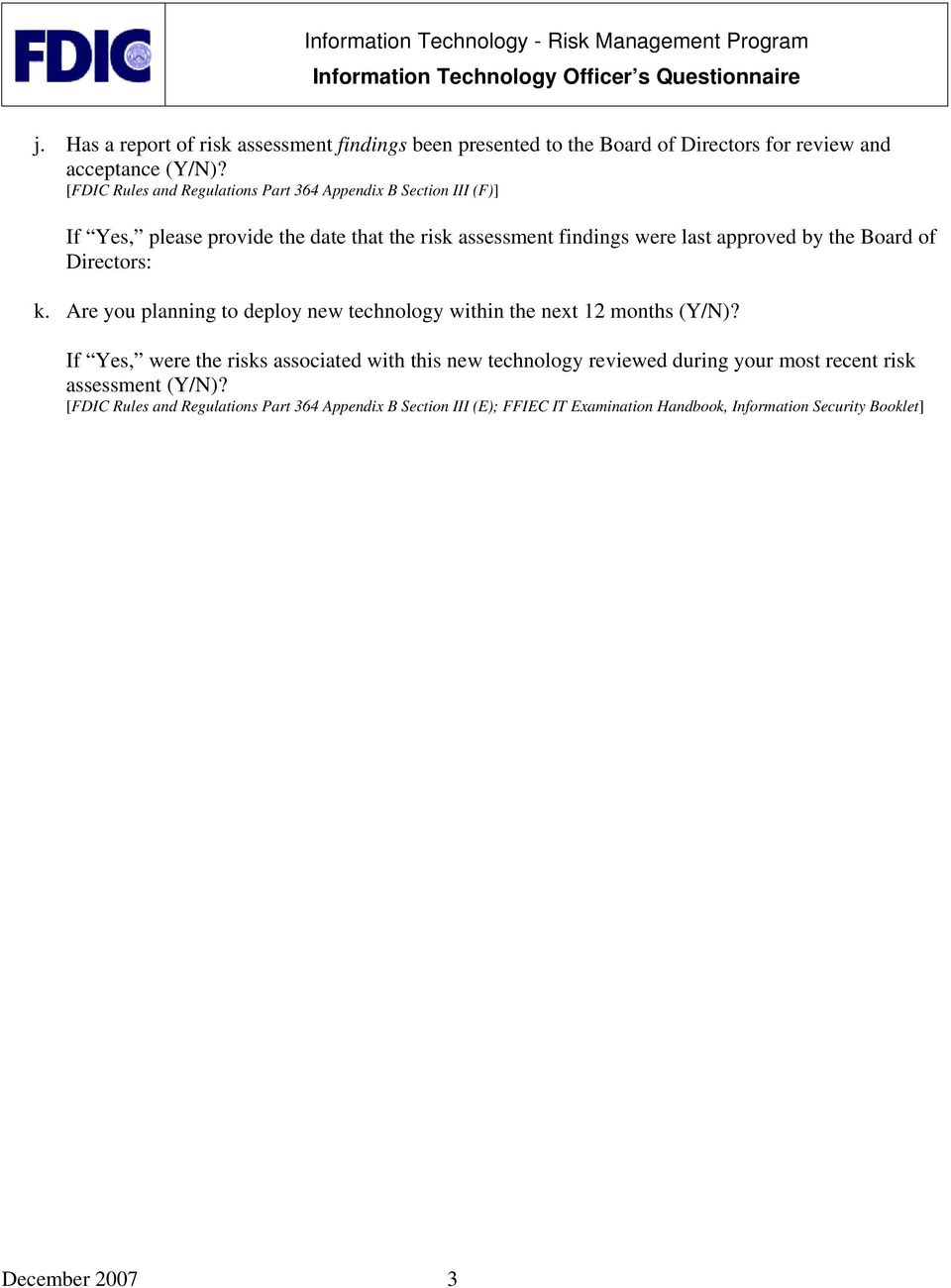 Instructions for Completing the Information Technology
