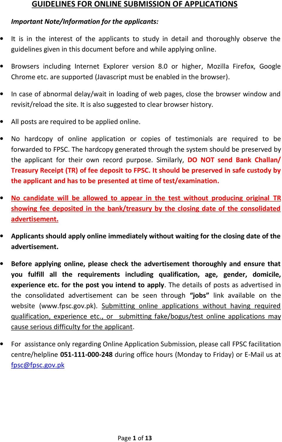GUIDELINES FOR ONLINE SUBMISSION OF APPLICATIONS - PDF