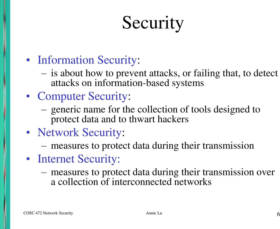 and to thwart hackers Network Security: measures to protect data during their transmission Internet Security: