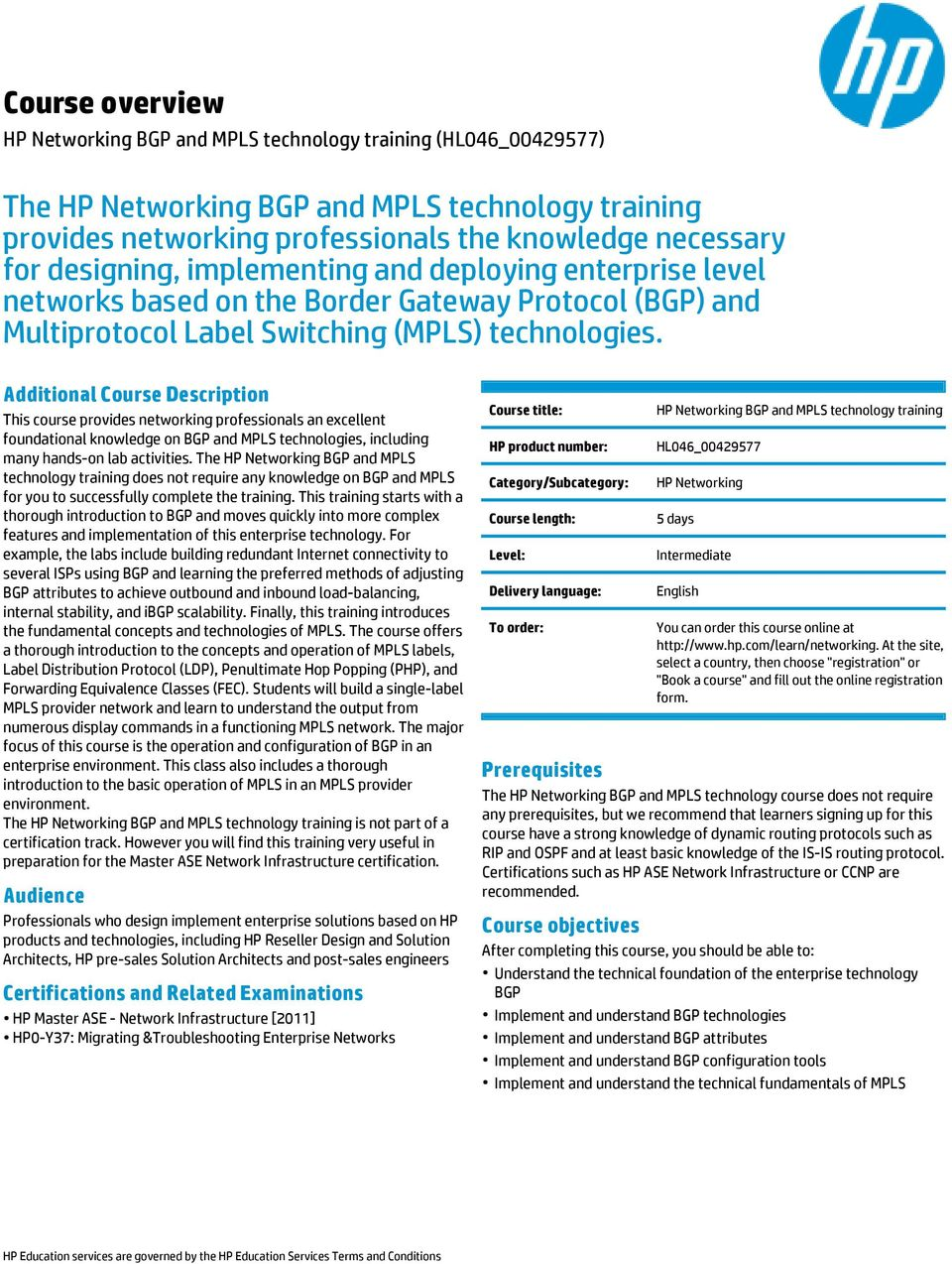 HP Networking BGP and MPLS technology training - PDF