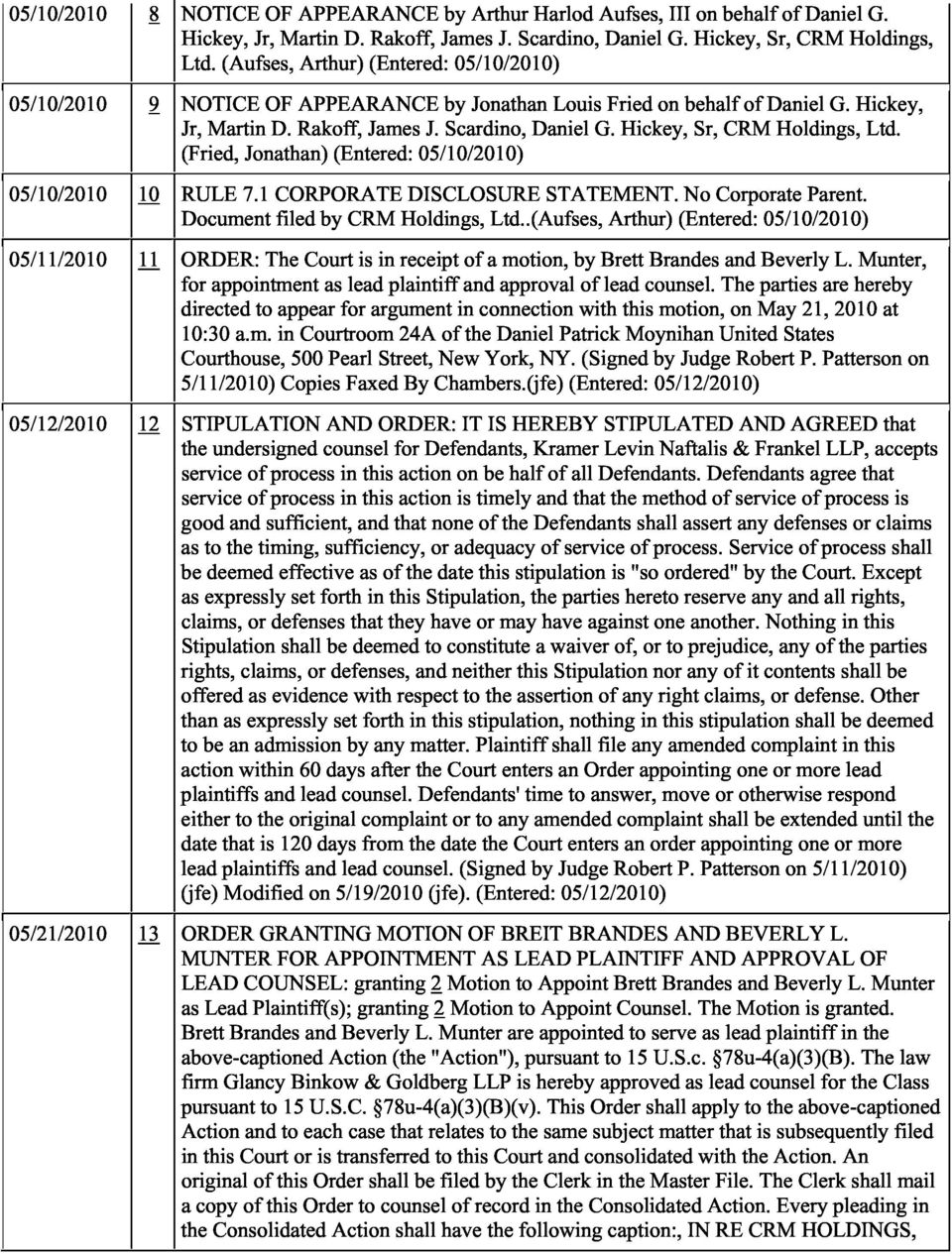 Hickey, Sr, CRM Holdings, Ltd. (Fried, Jonathan) (Entered: 05/10/2010) 05/10/2010 10 RULE 7.1 CORPORATE DISCLOSURE STATEMENT. No Corporate Parent. Document filed by CRM Holdings, Ltd.