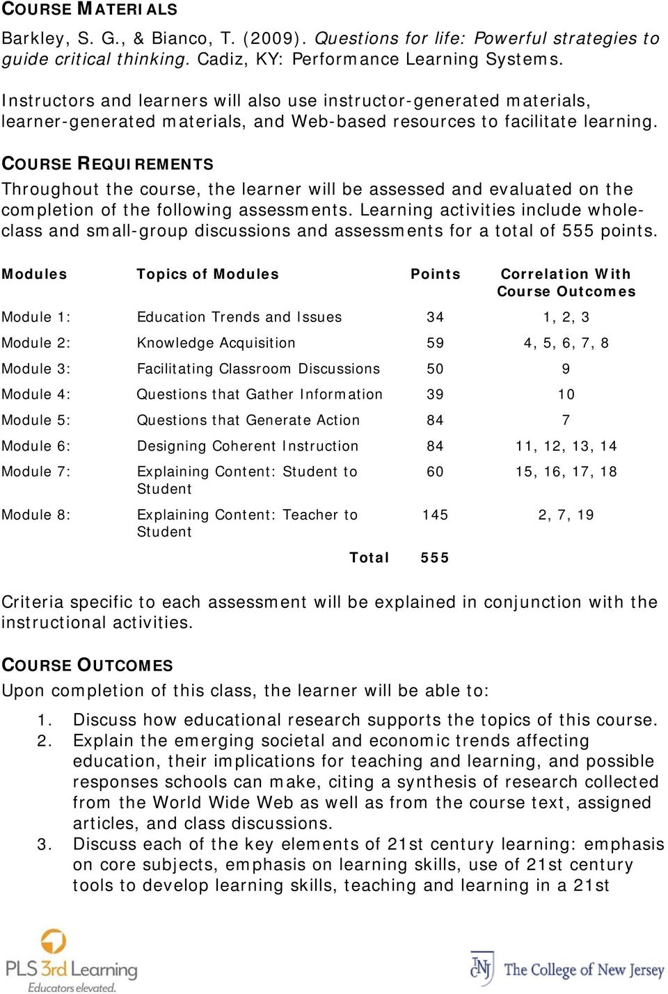 COURSE REQUIREMENTS Throughout the course, the learner will be assessed and evaluated on the completion of the following assessments.
