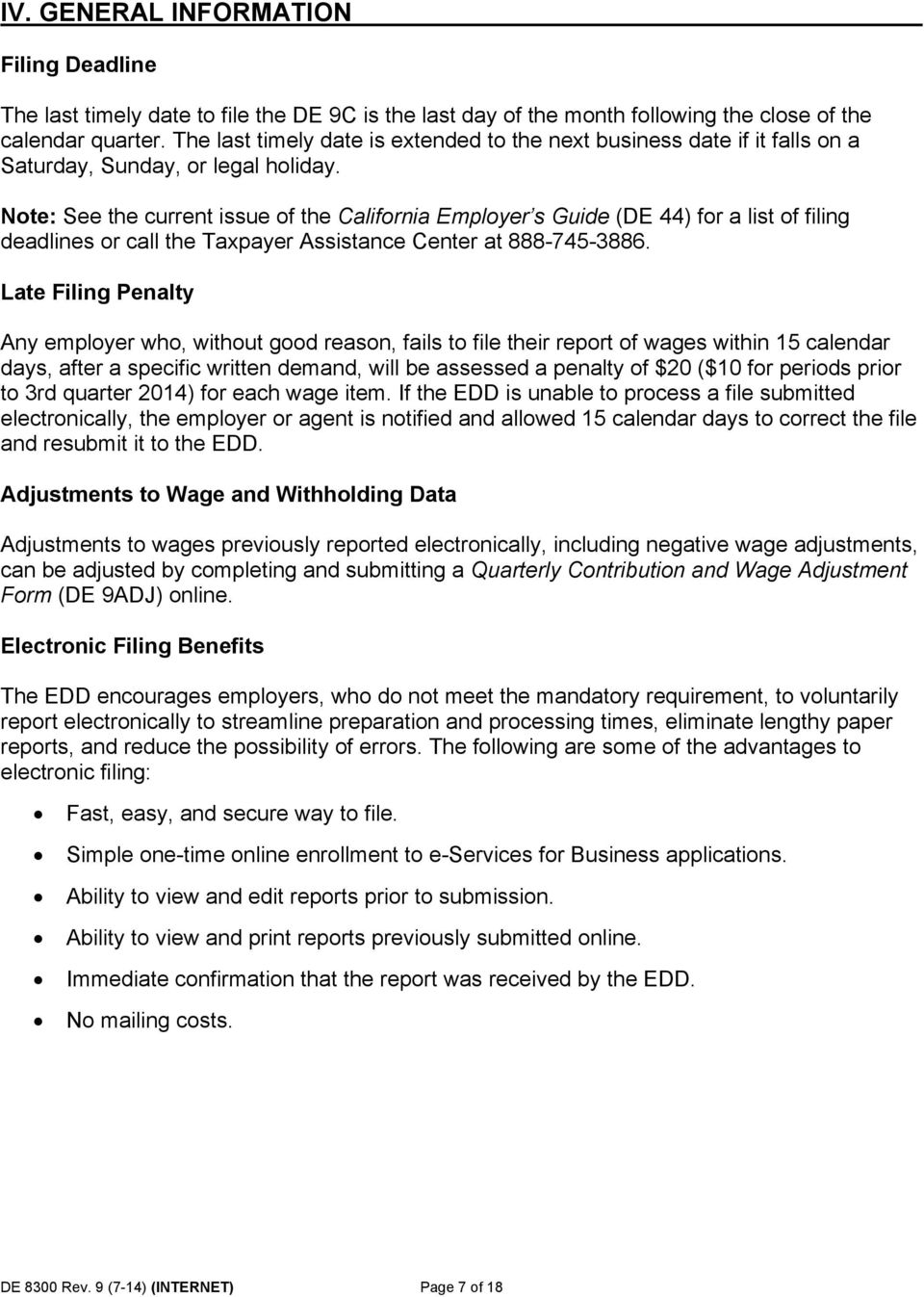 Note: See the current issue of the California Employer s Guide (DE 44)