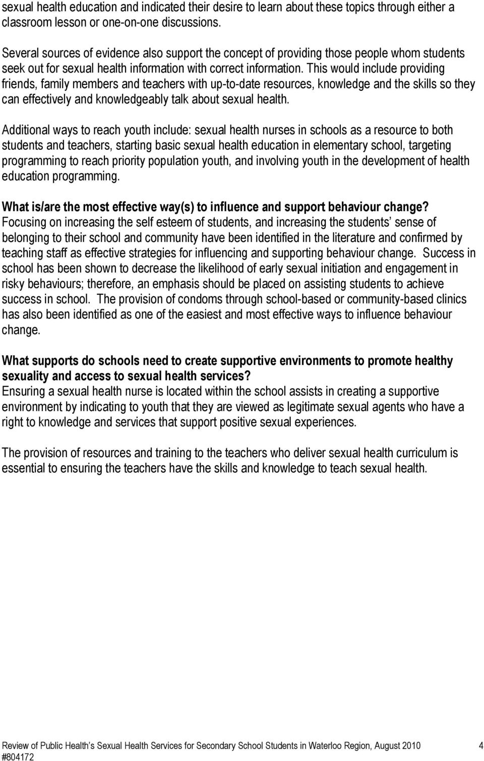 Review of Public Health s Sexual Health Services for