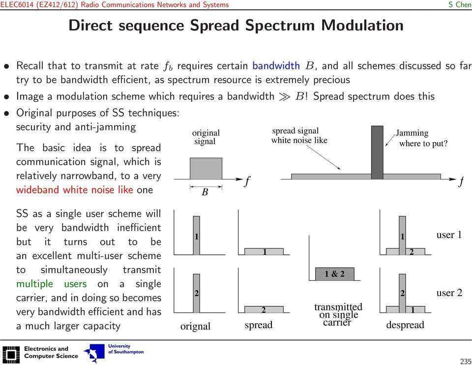 Spread spectrum does this Original purposes of SS techniques: security and anti-jamming The basic idea is to spread communication signal, which is relatively narrowband, to a very wideband white