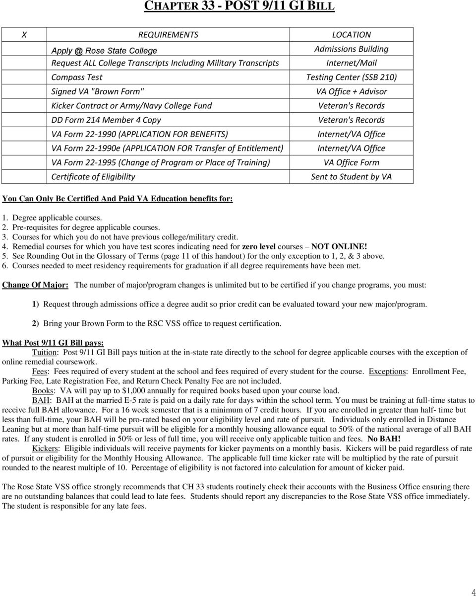 Rose State Veteran Student Services Educational Packet Pdf