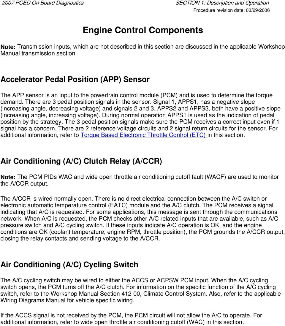 Engine Control Components Pdf Module Wiring Diagram Accelerator Pedal Position App Sensor The Is An Input To Powertrain
