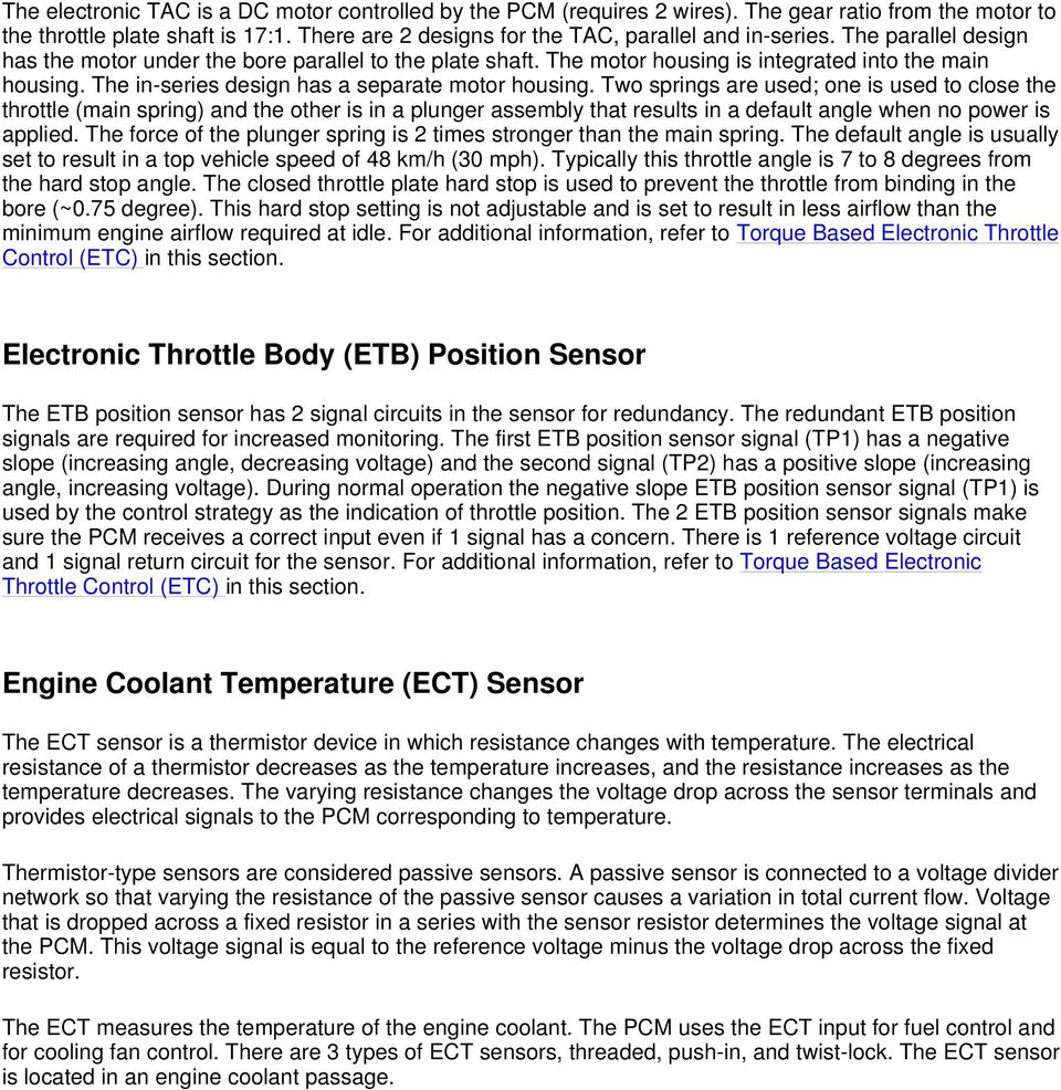 Engine Control Components Pdf Fig 2 Coolant Temperature Ect Sensor Wiring Diagram Two Springs Are Used One Is To Close The Throttle Main Spring 15 Typical Thread Type Oil