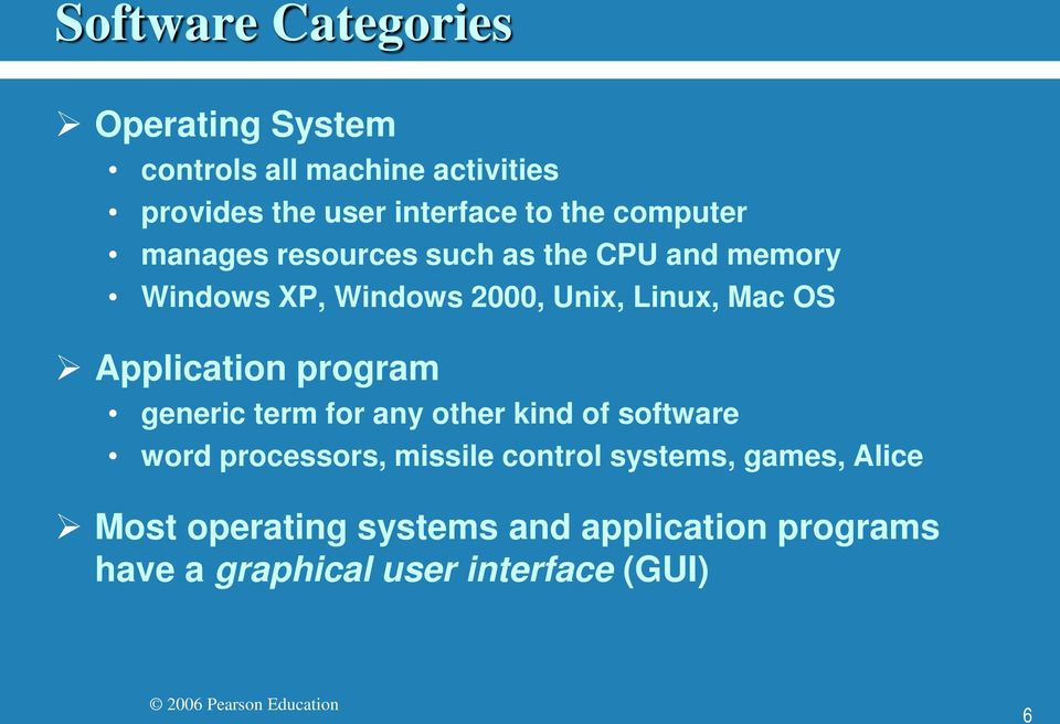 OS Application program generic term for any other kind of software word processors, missile control