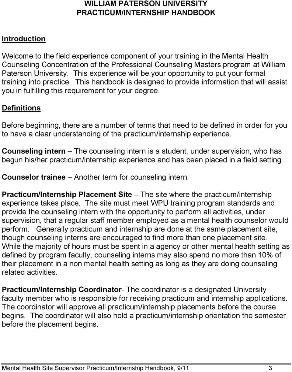 Mental Health Counseling Concentration Site Supervisor Practicum