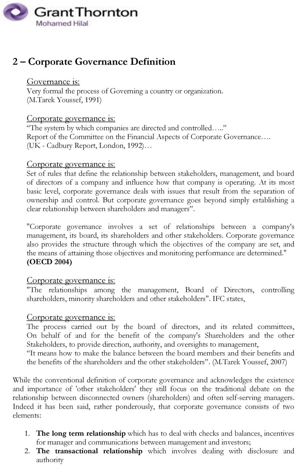 corporate governance an overview around the globe (1) prepared by: m