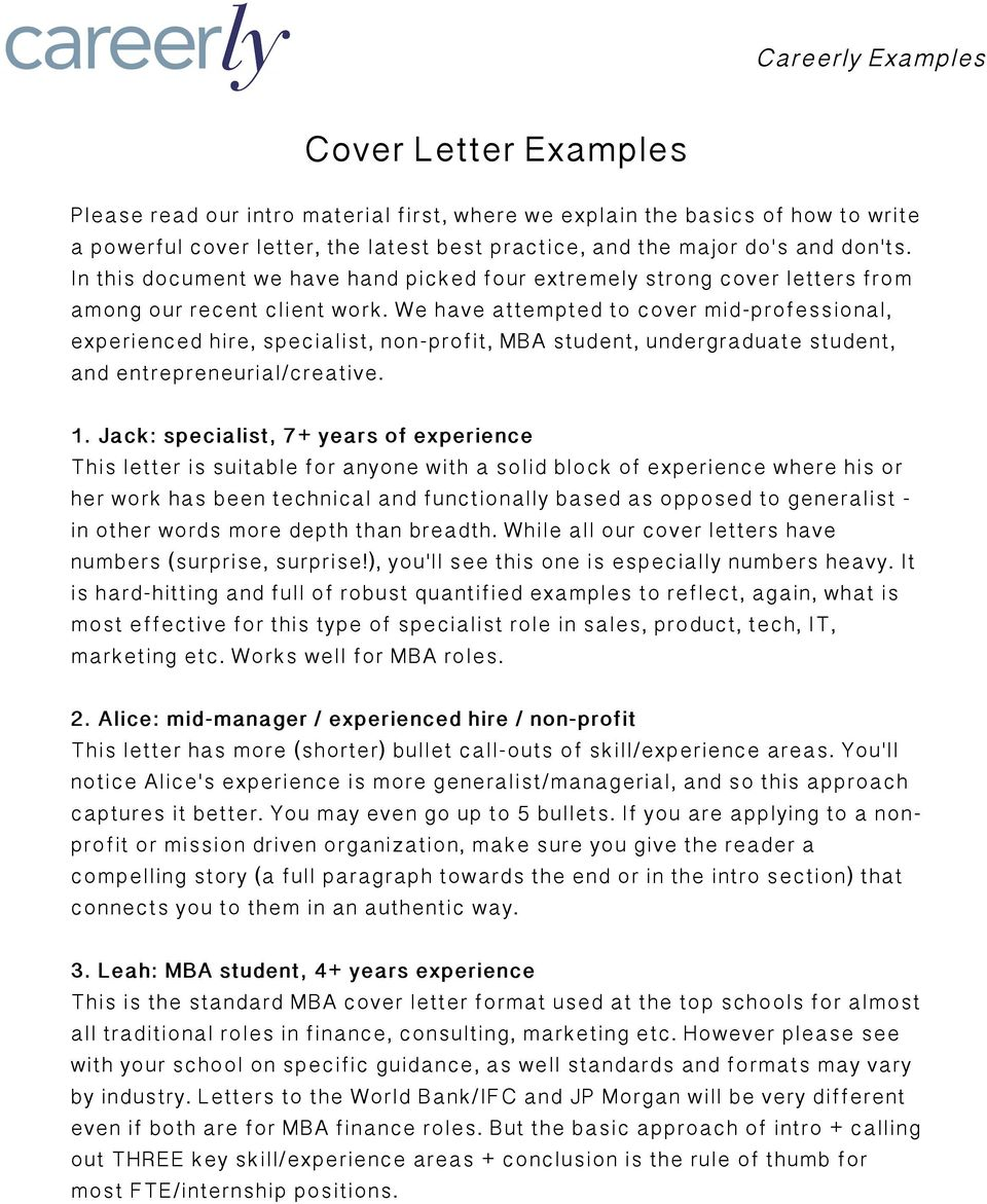Cover Letter Examples PDF Free Download