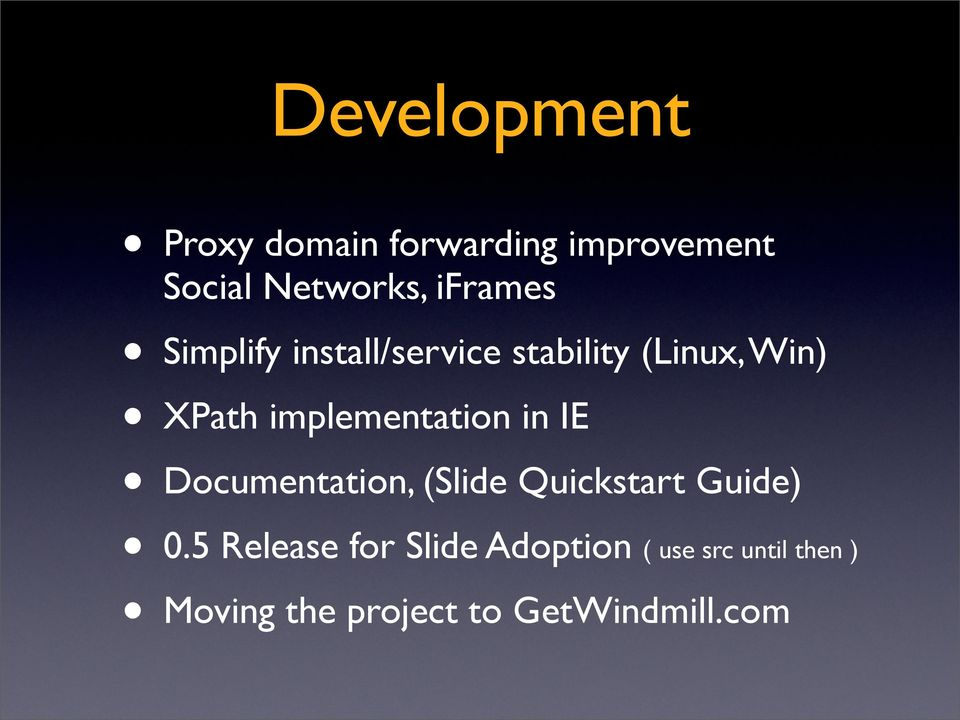 implementation in IE Documentation, (Slide Quickstart Guide) Moving