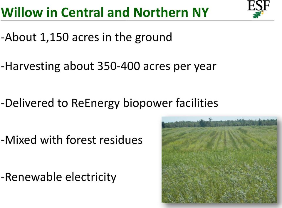 acres per year -Delivered to ReEnergy biopower