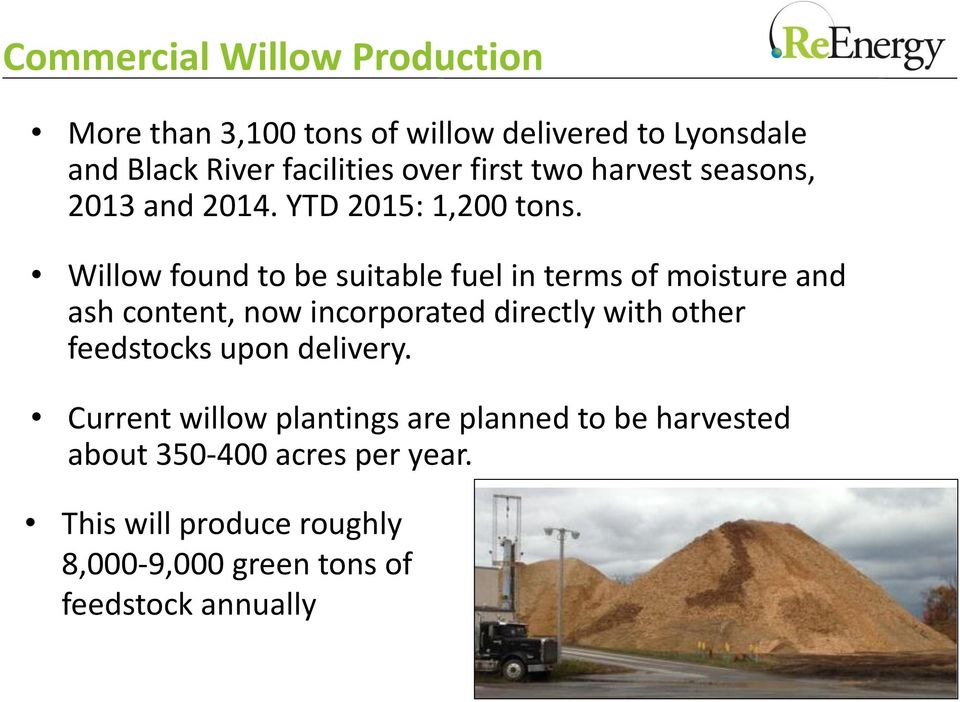 Willow found to be suitable fuel in terms of moisture and ash content, now incorporated directly with other